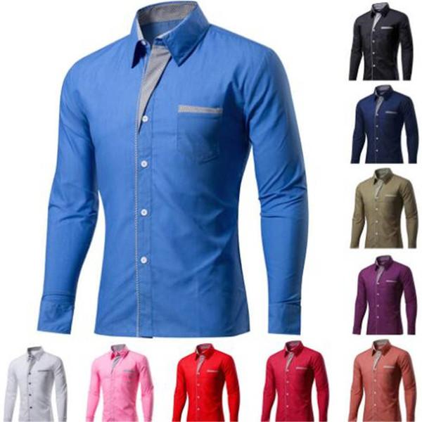 2017 Yeni Moda Marka Camisa Masculina Uzun Kollu Gömlek Erkekler Kore İnce Tasarım Örgün Rahat Erkek Elbise Gömlek Boyutu M-4XL