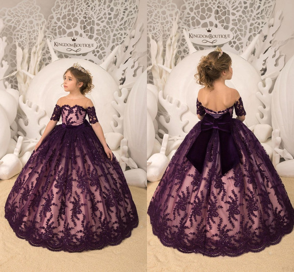 2019 Princess New Grape Crew Neck Short Sleeves Flower Girl Dresses Lace Appliques Ball Gown Tulle First Communion Pageant Gowns BC1393