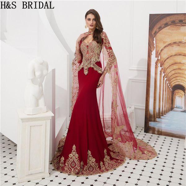 Muslimische Abendkleider mit Wickel Langarm Burgund Meerjungfrau islamischen arabischen Abendkleid Vestidos de Fiesta 2018 Abendkleider
