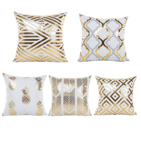 Gold Foil Pillow Covers Case Golden Design living Room Ornament Cushion Cases Cover Square 45*45 cm Pillow Slips
