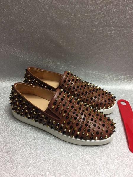 Zapatos de las mujeres de lujo de diseño barato manera de los hombres zapatillas de deporte de Calidad de Red Top toque fondo genuina zapatos casuales de cuero L16