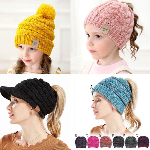 Multi-Color Parents Kids caps Family Match Hats Kidscourful Hats Knitted Fashio Trendy Beanie Winter Over sized Chunky Skull Caps Soft Cable