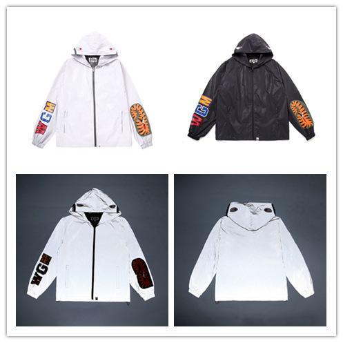 Tie Brand Мужская; S Windbreak Тигровая голова Акула рот Отражающие куртки Тонкие куртки с длинным рукавом с капюшоном Мужчины хип-хоп спортивное пальто