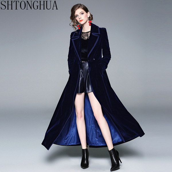 official store newest collection where to buy 2019 Winter High Quality Plus Size Women Long Sleeve Velour Slim Tunic  Vintage Office Party Velvet Maxi Trench Coat Autumn Outerwear From Linglon,  ...