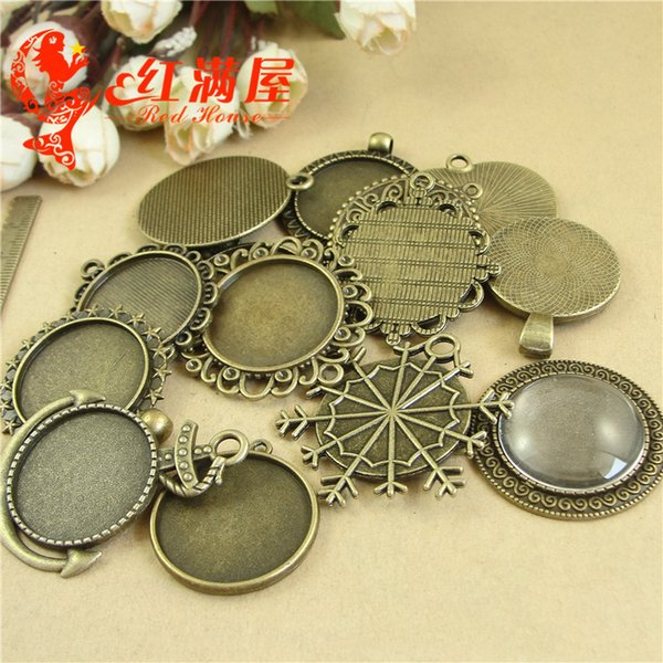 500grams Fit 25MM Antique bronze vintage alloy metal stamping blank pendants base round cameo cabochon setting bezel tray jewelry making