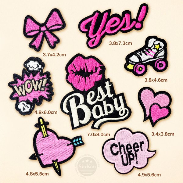patches embroidered 8pcs/lot Best Baby Cheer UP Cloth Badge Patch Embroidered Applique Sewing Clothes Stickers Garment Apparel Accessories