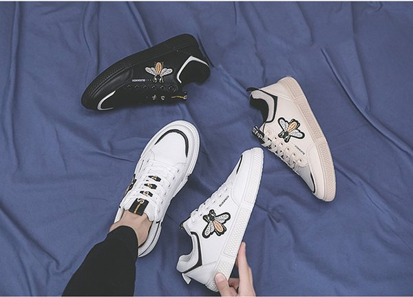 18ss Italy Mens designer luxury shoes Casual Shoes white women sneakers good embroidery bee cock tiger dog fruit on the side with OG box