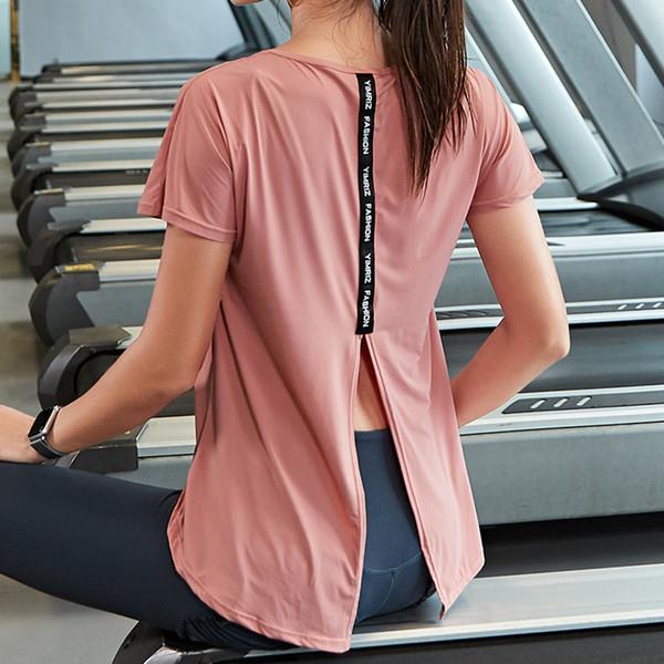 Camicia a maniche spaccate sul retro Camicia a maniche lunghe asciutta e asciutta con magliette sportive da donna Top da allenamento per allenamento