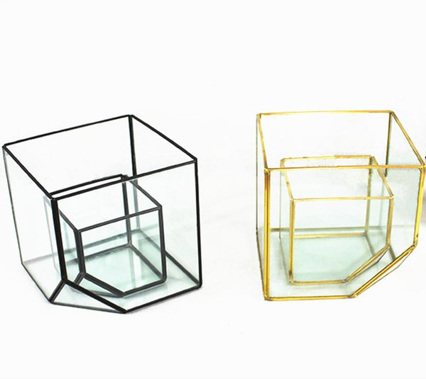 Wholesale New Design and High Quality Cubic Glass Geometric Flower Vase (L10xB10xH10cm) for Home and Office Decorations