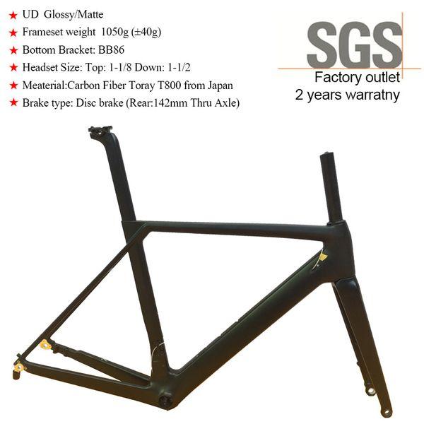 Road Carbon Bicycle Frame Disc Brake UD Glossy Matte Racing T800 Carbon Fiber Frameset SF27 weight 1050g BB86 Thru Axle 142mm