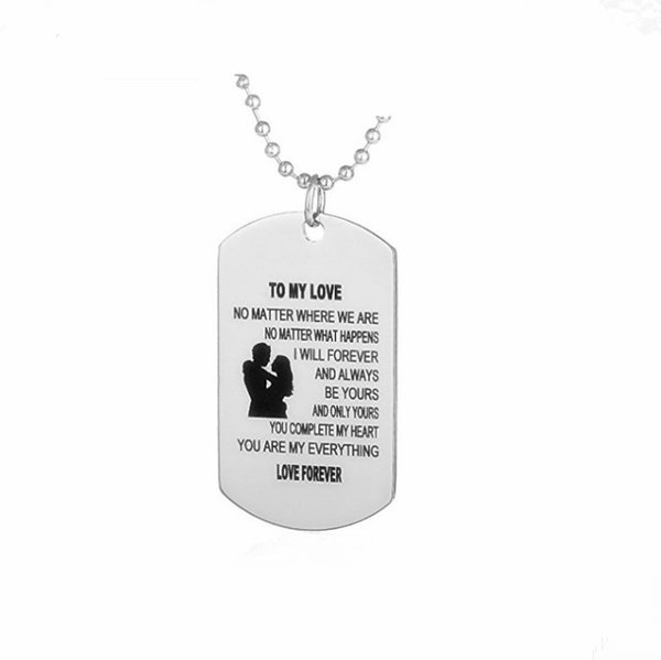 LL001 TO MY LOVE Stainless Steel Pendant Necklaces Engrave Name for Love Necklaces Customized Logo Jewelry