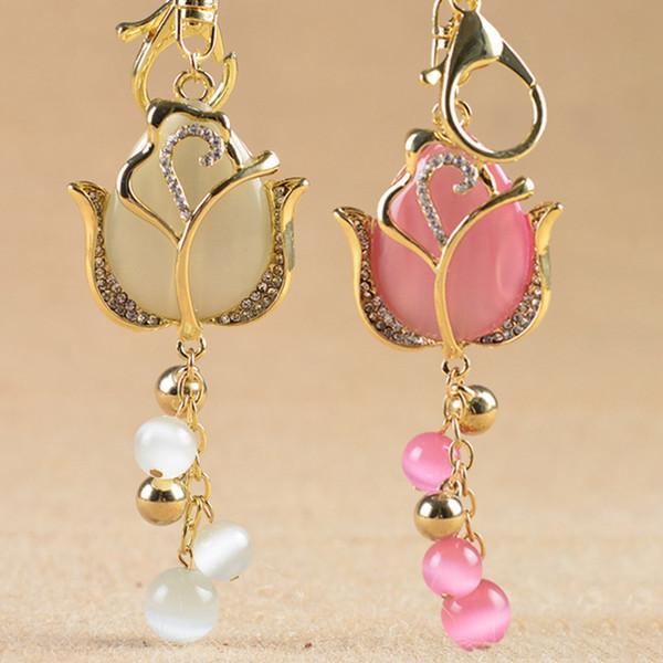 Nuova alta qualità temperamento catena Tulip Keychain di cristallo di modo di fascino del fiore auto chiave femminile pendente del sacchetto Accessori Portachiavi