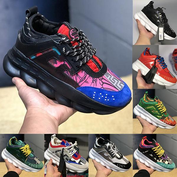 2019 Nuevos zapatos de reacción en cadena Link-gofrado suela Moda de lujo Diseñador casual Hombres Mujeres Zapatos Zapatillas deportivas