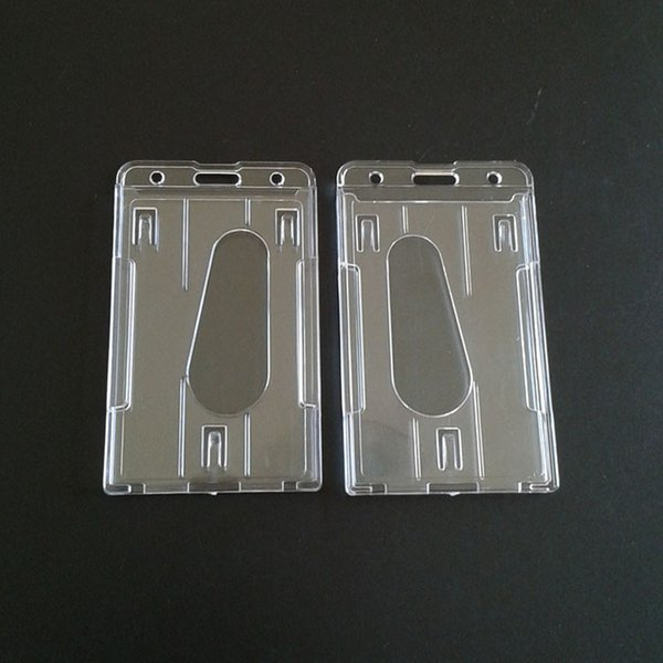 Practical Double Card Acrylic Plastic Brand Business ID Badge Card Holder Wallets Pocket Case Wholesale ZC0559