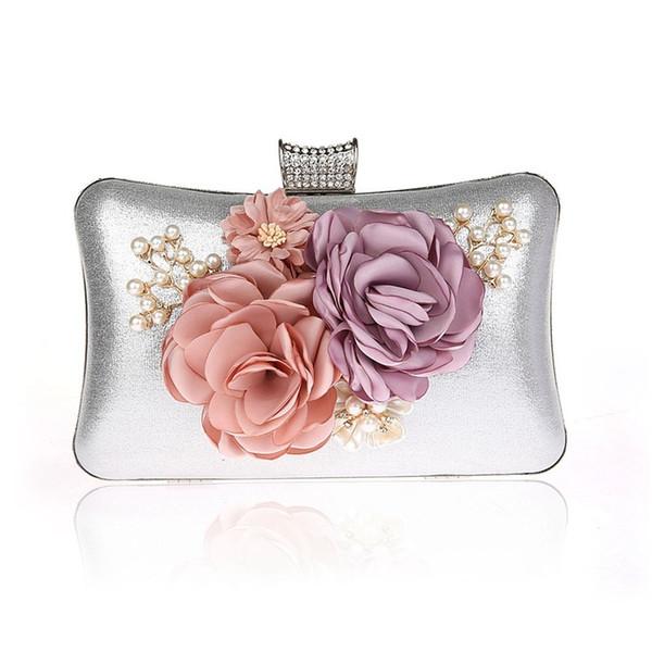 Women Pearl Evening Bag Ladies Flower Wedding Clutches Female Pink Black Clutch Purse