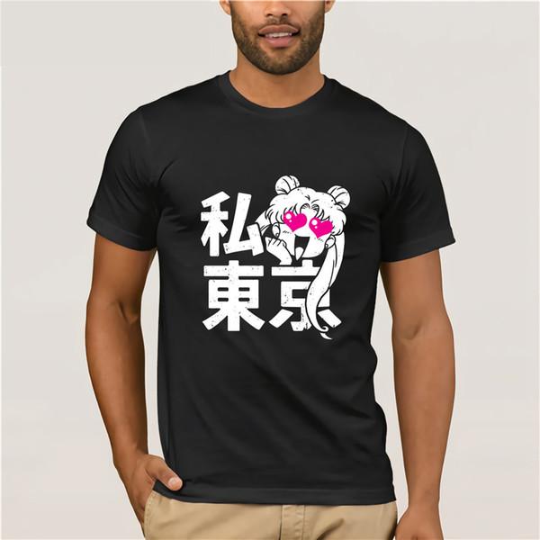 Sailor Moon T-shirt Dos Homens Do Coração Tokyo T Shirt Kawaii Roupas de Grife Famoso Anime Tshirt Mens Preto Tees Tops de Algodão
