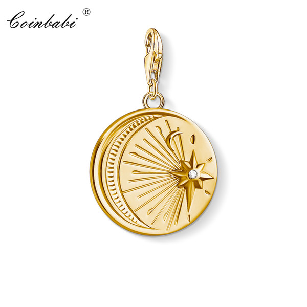 Charm Pendant Vintage Moon & Star,2019 New Fashion Jewelry Trendy Pure 925 Sterling Silver Gift For Women Fit Bracelet Necklace