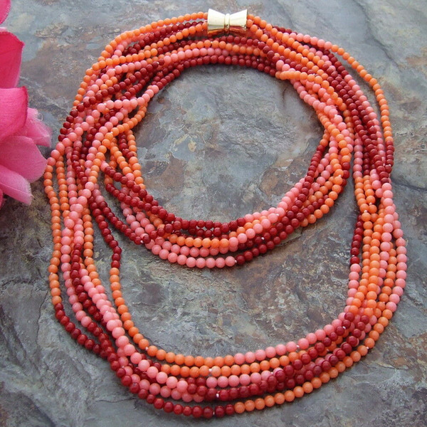 best selling Charming 6strands 4mm multicolor round coral necklace long 101cm fashion jewelry