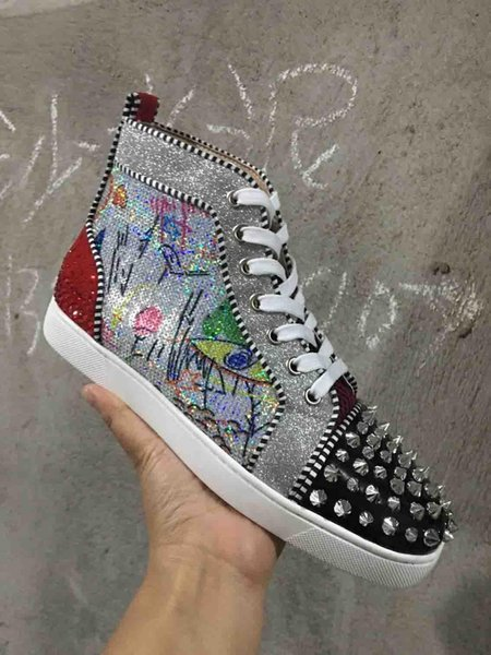 Italie Hommes Epi Red Sneakers Bottom Chaussures Casual Luxe Imprimer Argent Rose Pik No Limit Orlato Goujons et strass Graffiti Low / High C19