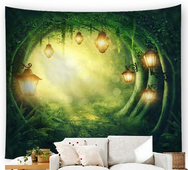 tapiz moda Impresión digital Alfombra de pared Simplicidad moderna bosque de ensueño mundo de cuento de hadas Toalla de playa Suministro transfronterizo