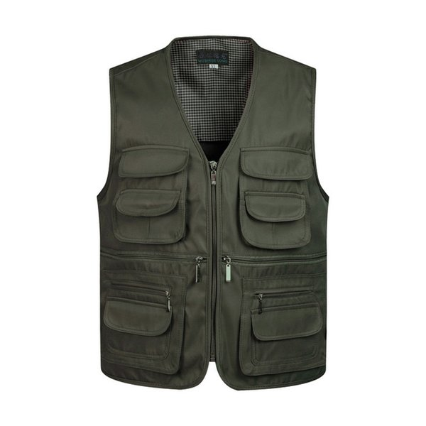 Men Multi-Pocket Classic Waistcoat Male Sleeveless V-Neck Unloading Solid Coat Work Vest Photographer Tactical Masculino Jacket