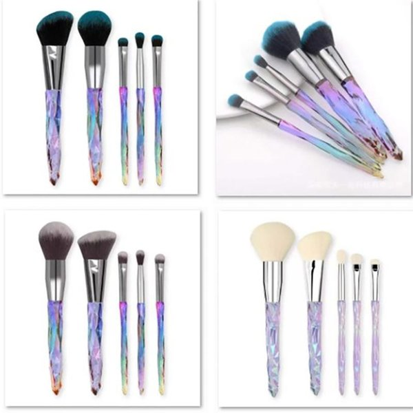 Diamond Shape Rainbow Handle Makeup Brushes Sets Kit Gradient Crystal Transparent Plastic Handle Beauty Brush Party Favor Gifts HH7-2066
