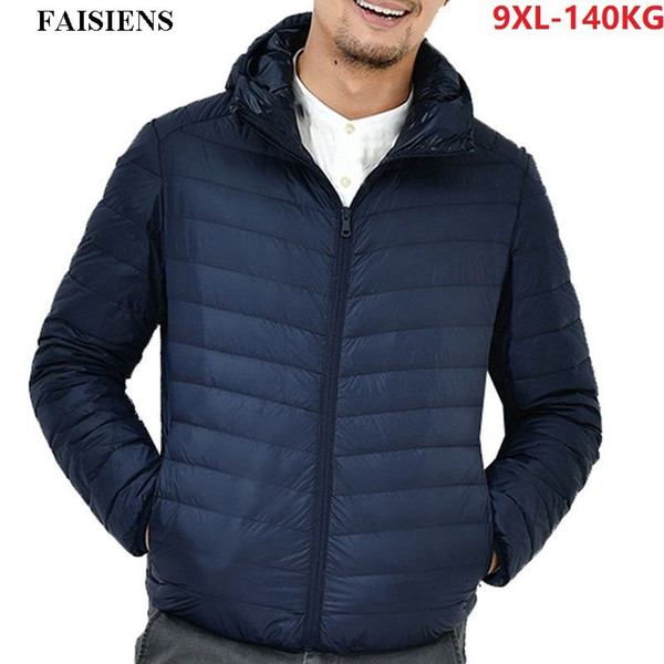 FAISIENS Hooded Men Down Parkas Large Size Loose Jackets Big Men 7XL 8XL 9XL Winter Jackets Warm Outwear Navy Blue Home Coat