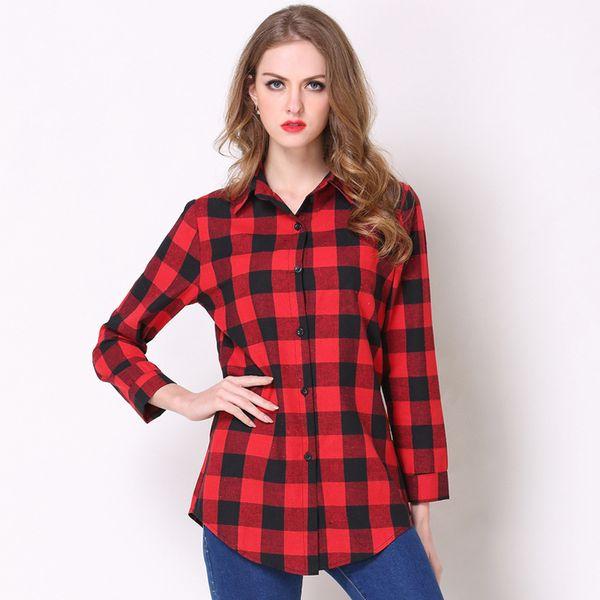 Mulheres Camisas Xadrez Macio Longo Fino Top Camisa de Manga Longa Senhoras Moda Casual Camisas Commuter Confortável