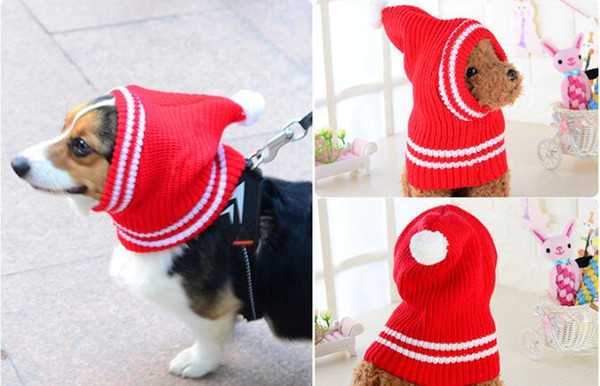 Winter Pet Dog Wool Hats Red Christmas hat For Puppy Cat Medium Large big Dogs Elastic Cap pet apparel Accessories