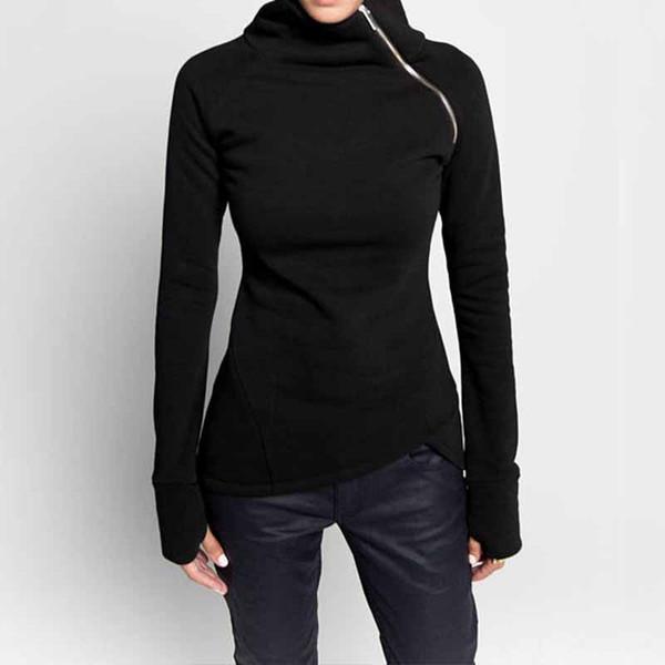 Sudaderas para mujer Sudaderas con capucha 2019 Otoño Casual Cuello alto Cremalleras de manga larga Slim Fit Blusas Pullovers Plus Tamaño sólido Top
