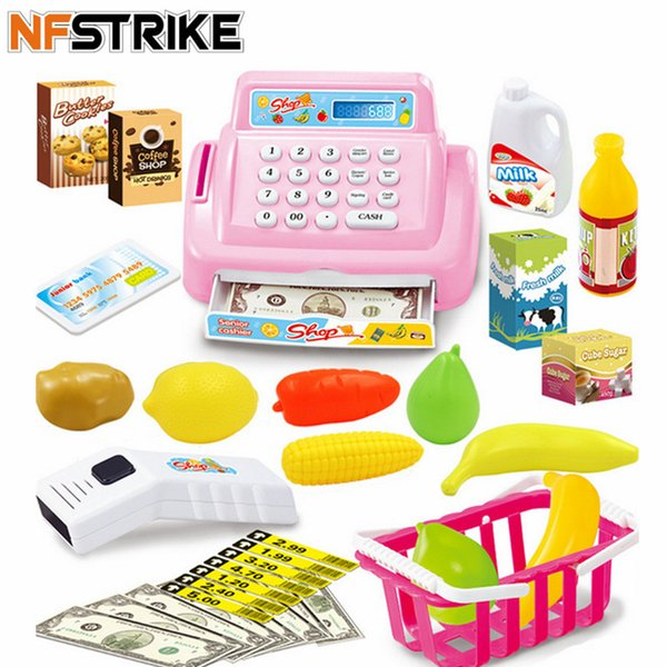 kids toys for children girls House Toy Mini Store Shop Cash Register Kit Toy Pretend & Play Playset - Pink SH190907