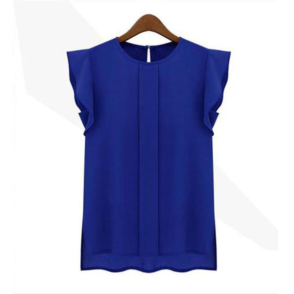 Blusas da mulher da forma 2019 sólidos das mulheres tops e blusas Chiffon Camisas OL Lady Gola Redonda Sem Mangas Ruffles Tops Plus Size