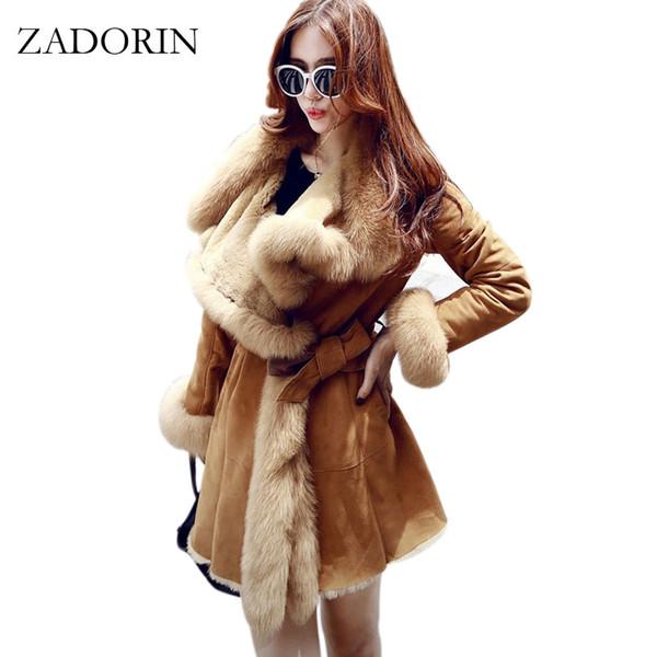 Kışlık Mont Kadınlar 2018 Yeni Moda Lüks Faux Kürk Yüksek Kalite Kalınlaşmak Faux Süet Deri Ceket Uzun Palto Parkas