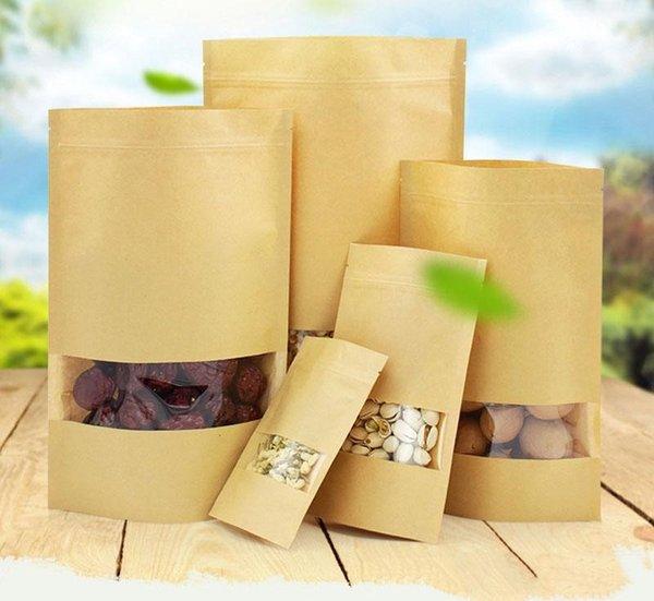 100 unids / lote bolsas de barrera de humedad alimentaria con ventana transparente Marrón Papel Kraft Doypack Bolsa Ziplock Embalaje bolsa de sellado
