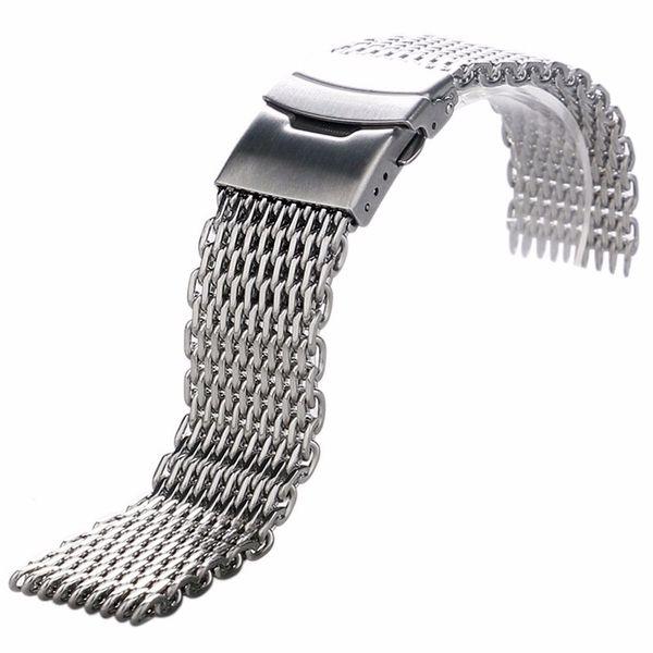 Shellhard Montre en acier inoxydable Bracelet d'argent Bracelet Bracelet montre Mesh droit Fin Sangle de 18mm, 20 mm, 22 mm, 24 mm Y191105
