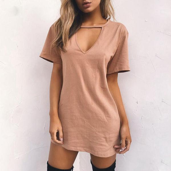 2019 Seksi V Boyun Pamuk Yaz Elbiseler Kadın Katı Rahat Gevşek Elbise Kadın A-line Mini Vestidos Artı Boyutu 3xl giysi tasarımcısı