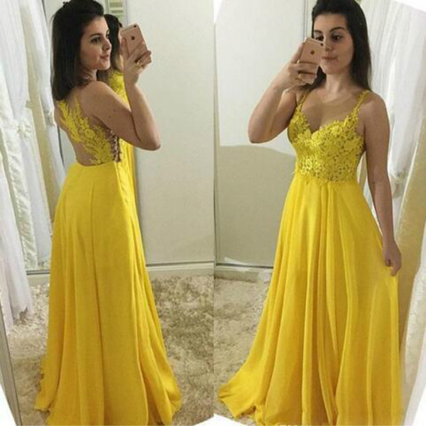 Pretty Yellow A Line Prom Dresses Long Spaghetti Straps Top Lace Appliques Full Length Chiffon Formal Evening Gowns Sexy vestidos de fiesta