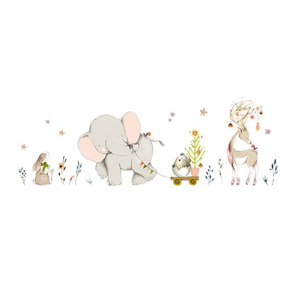 Cartoon Forest Flower Elephant Giraffe Giraffe Animal Wall Stickers Kids Room Decor Vinyl Wallpaper Baby Bedroom Wall Decals