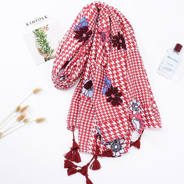 Qianniaoge printed cotton and hemp scarf tassel long gauze scarf seaside holiday sunscreen shawl sales wholesale