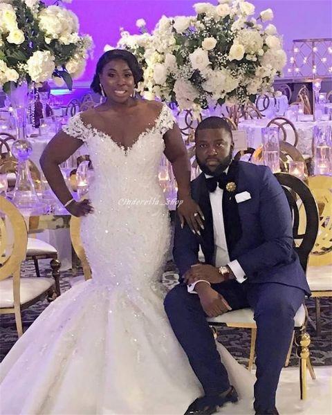 best selling Modest African Plus Size Mermaid Wedding Dresses Sheer Scoop Appliques Sequins Beaded Vintage Bridal Gowns Customized Vestido De Novia