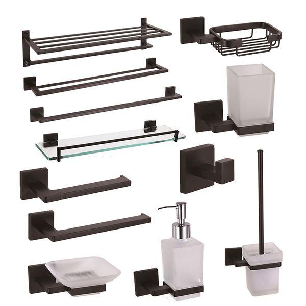 Ensembles accastillage noir salle de bains en laiton Porte-savon Porte-serviettes Robe Hooks toilettes Porte-ROULEAU salle de bains Accessoires étagère en verre