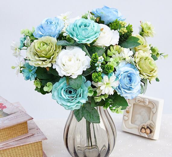 Elf New Yorker Rosen in Europa und Amerika Pine Rose Hochzeit Dekoration von Fake-Blumen-Ausgangs WL596