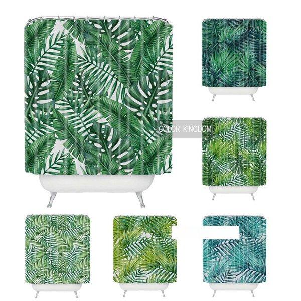 Sweetenlife тропический душ занавес Полиэфирная ткань простой занавес ванной комнаты Дизайн зеленых растений Шторы Ванна Водонепроницаемый 180CM
