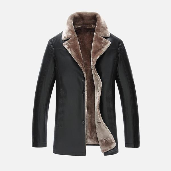 Männer PU-Lederjacken Neue Marke plus samt lässige Herren Lederjacken und -mäntel, Winter warm jaqueta de couro masculino