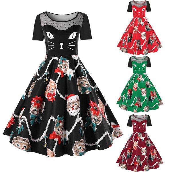 Women Plus Size Christmas Dresses Retro Hepburn Short Sleeve Vestido Cat  Dress Santa Pattern Party Swing Dress Vestidos 5XL 90 Sequin Dresses  Sweater ...