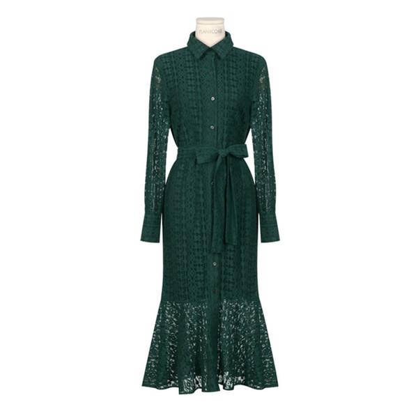 Урожай выдалбливают кружева длинное платье женщины с отложным воротником однобортный русалка женское платье весна vestidos