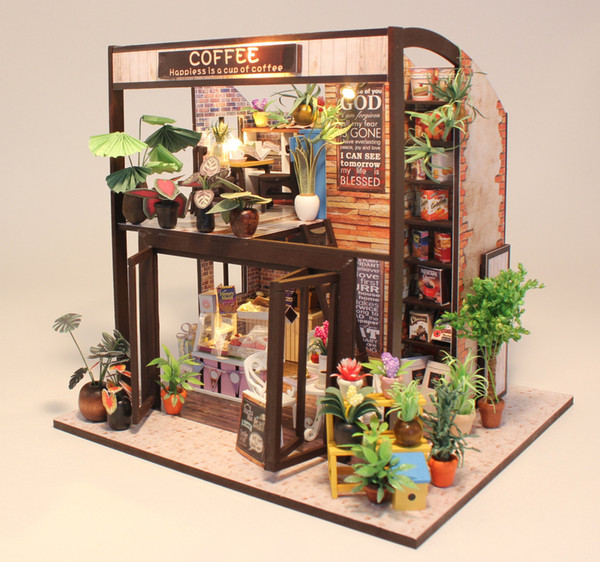 Diy Cottage Time Travel Coffee House Hand-assembled Model Toy House for Creative Birthday Gifts for Men and Women