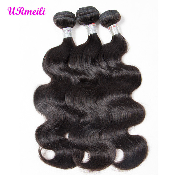 Indian Body Wave Human Hair Bundles 3/4 Piece body wave Remy Hair Extensions Weave 8-32inch Natural Color raw virgin indian hair