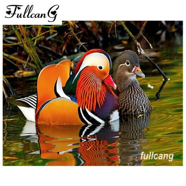 Bordado de diamantes animales pintura diamante puntada cruzada aves cuadrado lleno rhinestone diamante costura mandarín pato C729