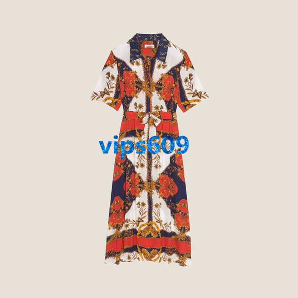 High end women girls Skirt dress lapel neck Geometric patterns prints woman Waist Slim A-line Short sleeveskirt Casual dresses Sexy dresses